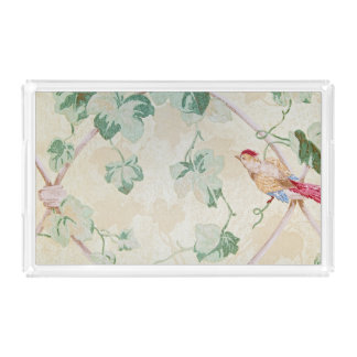 retro wallpaper with bird acrylic tray