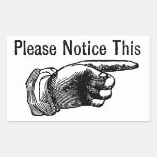 Retro warning sign: Hand pointing finger to notice Rectangular Sticker