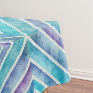 Retro watercolor abstract geometric blue, purple tablecloth