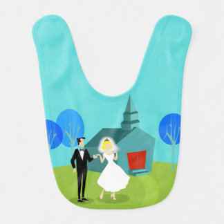 Retro Wedding Couple Baby Bib