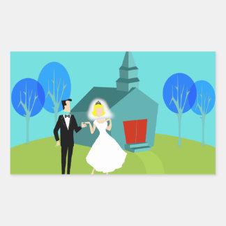 Retro Wedding Couple Stickers