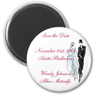 Retro Wedding, Save the Date 6 Cm Round Magnet
