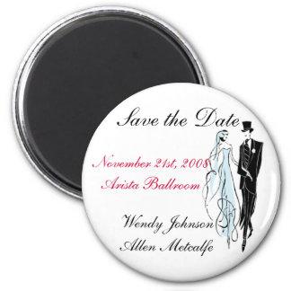 Retro Wedding, Save the Date - Customized 6 Cm Round Magnet