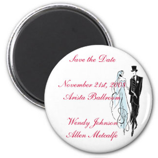 Retro Wedding, Save the Date 6 Cm Round Magnet