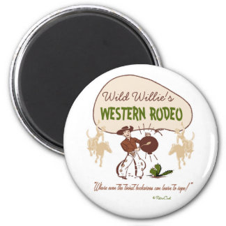 Retro 'Western Rodeo' 6 Cm Round Magnet