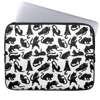 Retro Whimsical Cat Fabric Neoprene Laptop Sleeve