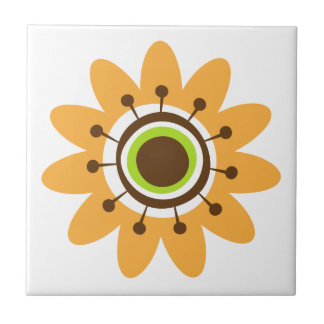 Retro whimsical yellow flower ceramic tile