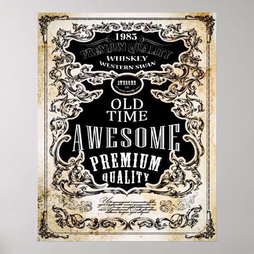 Retro Whiskey Label Poster