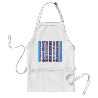 Retro white blue and red rectangle pattern adult apron