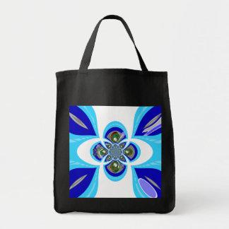Retro white blue turntable design grocery tote bag