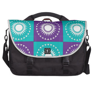 Retro White Flowers Patch Pattern Purple Teal Bag For Laptop