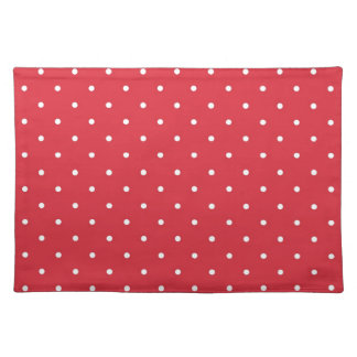 Retro white polka dots on red background placemat
