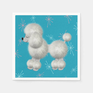 Retro White Poodle Birthday Party Paper Napkins