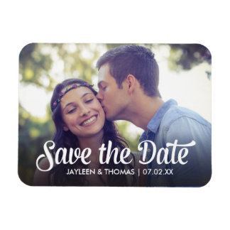 Retro White Script Save The Date Full Bleed Photo Magnet