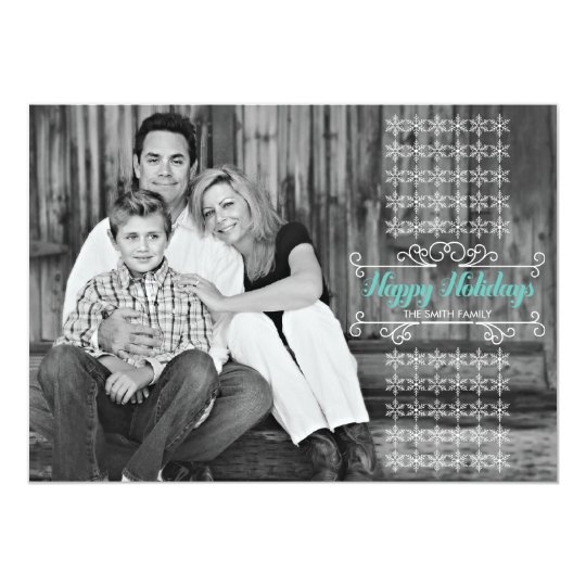 Retro White Snowflake Band Holiday Photo Card