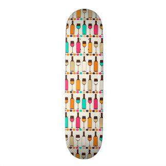 Retro wine bottles and glasses 21.6 cm skateboard deck