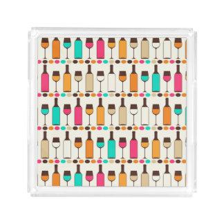 Retro wine bottles and glasses acrylic tray