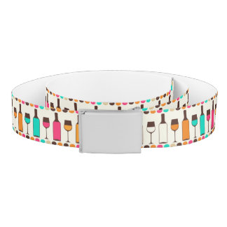 Retro wine bottles and glasses belt