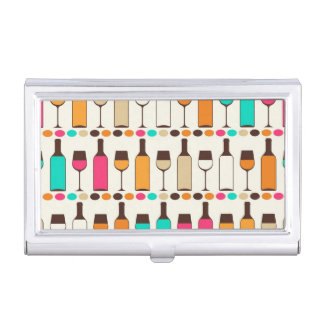 Retro wine bottles and glasses business card holder