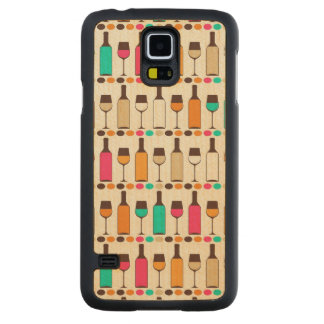 Retro wine bottles and glasses carved maple galaxy s5 case