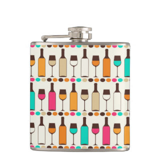 Retro wine bottles and glasses hip flask