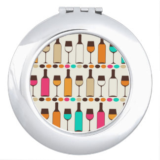 Retro wine bottles and glasses makeup mirror