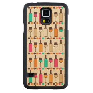 Retro wine bottles and glasses maple galaxy s5 slim case