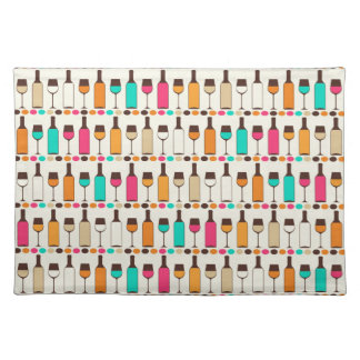 Retro wine bottles and glasses placemat