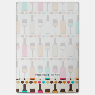 Retro wine bottles and glasses post-it notes