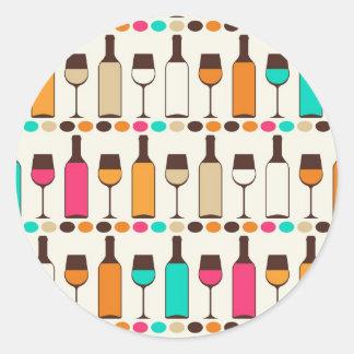 Retro wine bottles and glasses round sticker