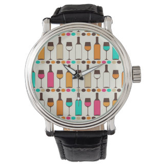 Retro wine bottles and glasses watch