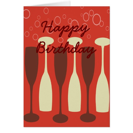 Retro wine glasses HappyBirthday Card