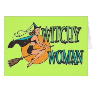 Retro Witchy Woman Greeting Cards