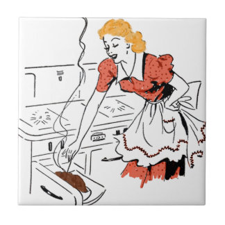 Retro Woman Basting Meat in Oven Tile