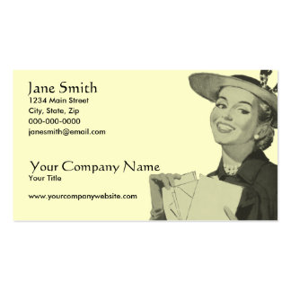 Retro Woman Holding Mail Pack Of Standard Business Cards