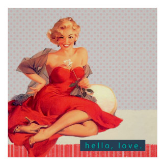 Retro Woman in Red Dress Pin-up Vintage Style Poster