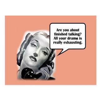 Retro Woman on Phone, Drama Postcard
