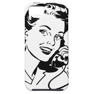 Retro Woman on Telephone Case For The iPhone 5