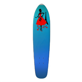 Retro woman red black silhouette with Eiffel Tower 18.1 Cm Old School Skateboard Deck