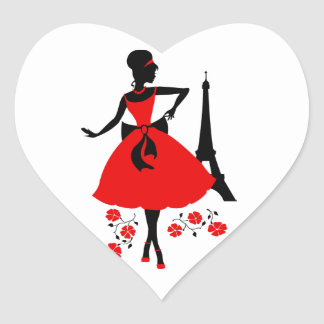 Retro woman red black silhouette with Eiffel Tower Heart Sticker