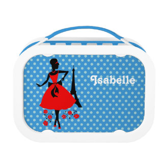 Retro woman red black silhouette with Eiffel Tower Lunchbox