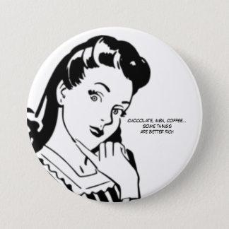 Retro Woman Rich Chocolate Men and Coffee 7.5 Cm Round Badge