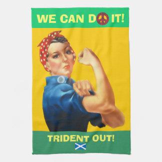 Retro Woman Scottish Independence Trident T Towel