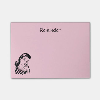 Retro Woman To Do Reminder Custom Color Wording Post-it Notes