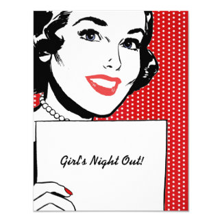 Retro Woman with a Sign 11 Cm X 14 Cm Invitation Card