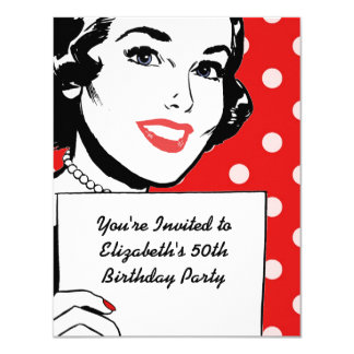Retro Woman with a Sign Birthday 11 Cm X 14 Cm Invitation Card