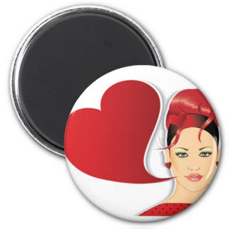 Retro woman with heart magnet