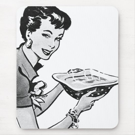 Retro Woman With Home Cooked Meal Mouse Mat