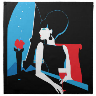 Retro woman with wine silhouette with Eiffel Tower Napkin