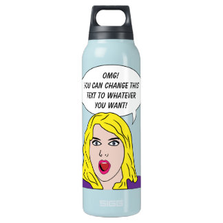 RETRO WOMAN with YOUR TEXT custom Insulated Water Bottle